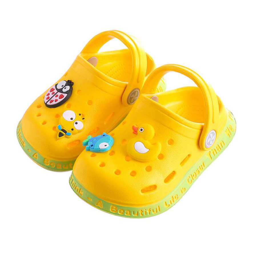 Baby Sandals Kids Cartoon Duck Cute Baby Shoes Summer Infant Boys Girls Soft Flat Sandals 1 2 3 Years Toddlers Sandals Pvc Shoes