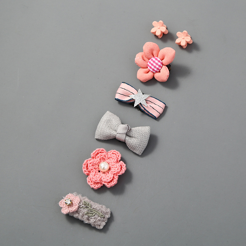 5Pcs/Set Cute Baby Hair Clips Glitter Crown Strip Bow Barrettes Baby Fabric Princess Hairpins Newborn Infant Hair Accessories
