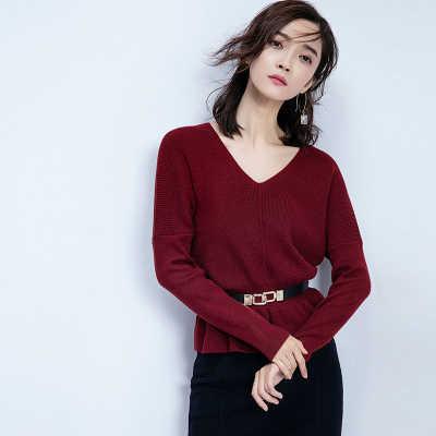 Novo inverno mulheres vneck camisola de malha feminina solto curto pulôver senhoras manga longa elegante camisa roupas lx1111