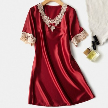 Satin Nightshirt Summer Sexy Lady Nightdress Lace Oversized Sleep Shirt Casual Nightgown Loose Sleepwear Home Dressing Gown summer women nightgown print sleepwear night bath dress gown satin sleep shirt sexy nightshirt home clothes intimate lingerie