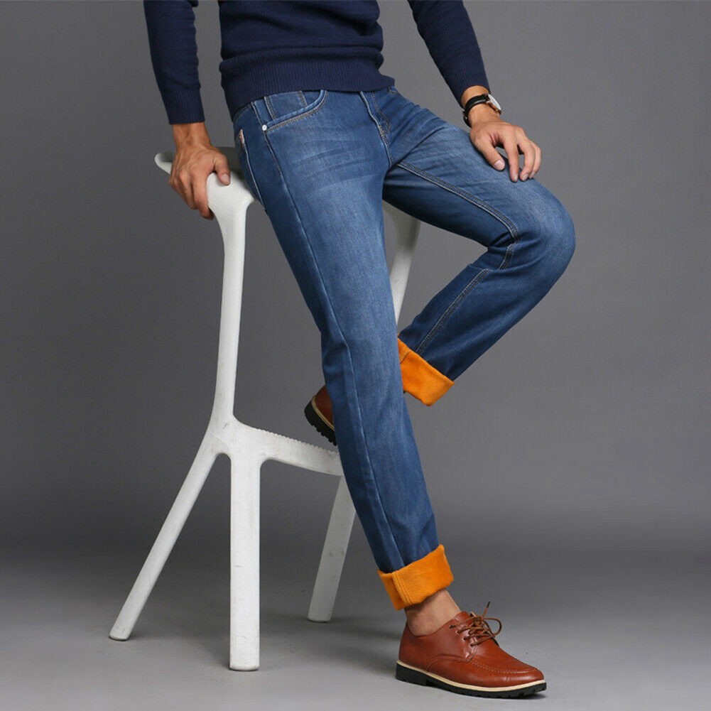 Men Winter Thermal Jeans Fleeced Lined Denim Long Pants Casual Warm Trousers For Office Travel NFE99