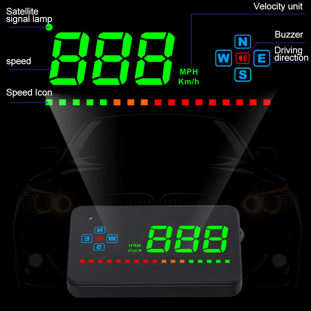 GPS Speedometer HUD Car Display Digital Head Up Universal Clear Easy Install Electronic Save Energy Projector Automatically