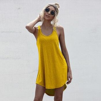 Solid Casual O-neck Sleeveless Tank Dress Women Loose Off Shoulder Asymmetrical Cotton Mini Dress Summer Streetwear Plus Size 1