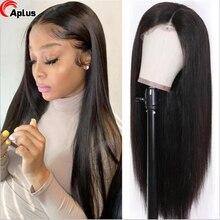 Peluca de cabello humano liso con encaje frontal, 30 pulgadas, 4x4, cierre de encaje transparente, prearrancada