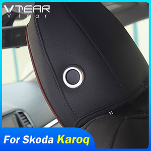 Vtear For Skoda Karoq Seat Accessories interior Headrest Adjustment knob button cover chrome car-styling trim decoration 2020