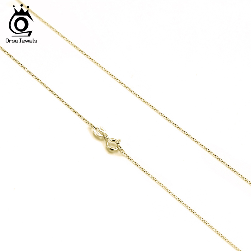 ORSA JEWELS Slim 0.6mm Box Chain Necklace Italy 925 Silver Woman Man Necklace 45cm 18''Long Jewelry Gift Wholesale OSC07