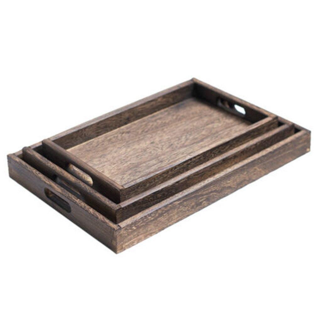 Прямоугольные ретро-подносы для хранения, деревянный поддон, гостиничный десертный ужин, посуда для чая, сервировочный поднос, домашний кухонный инструмент, 1 шт.-4