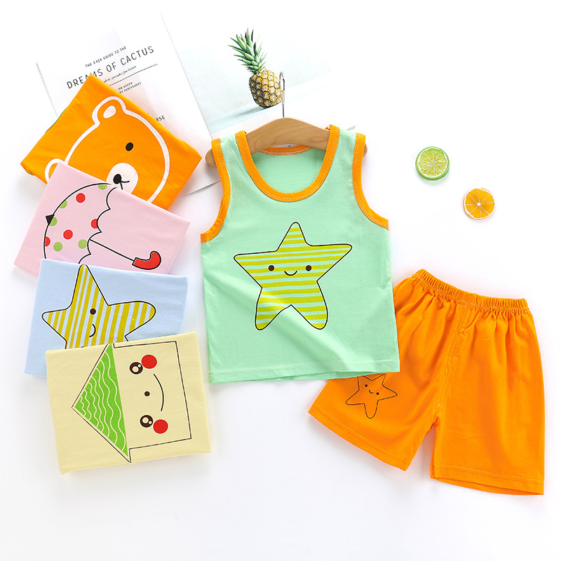 Summer Baby Boy&girl Cartoon Printing Set Newborn Clothes New Born Overalls Baby Clothes For Boys Tshirt Baby Set Clothing