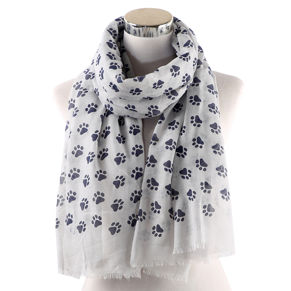 Dress Up Cute Daily Fashion Paw Printed Autumn Wrap Women Scarf Outdoor Soft Ladies Gift Neck Warmer Casual