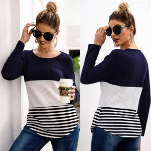 New Style for Autumn and Winter in Europe Cross-Border Women's Self-Priming Stripe Panel Long-Sleeve Pullover Knitting Shirt