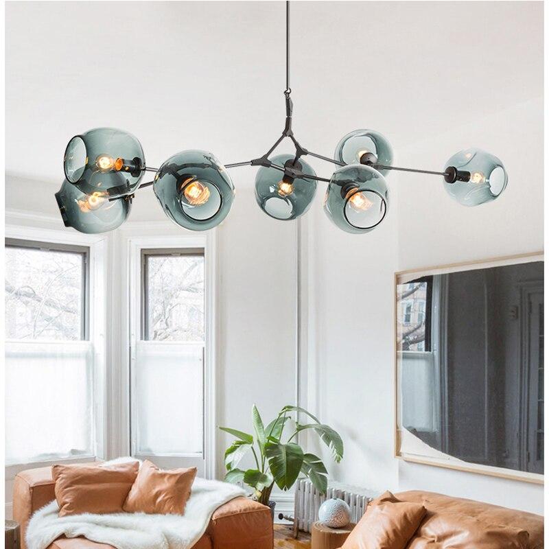 Bola de vidro moderna led lustre sala jantar quarto lustre iluminação nordic cozinha luminária pendurado luminárias