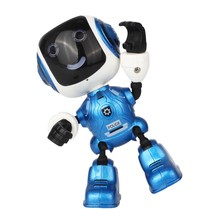 Electric LED Sound Intelligent Alloy Robot Toys Novelty Phone Stand For Kids(blue)(China)