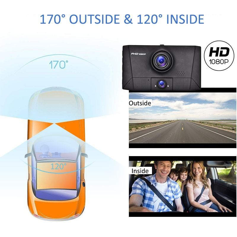 Dual Lens Dvr 3 in 1 Car DVR 3 Cameras 4 Inch HD Screen Dashcam 1080P