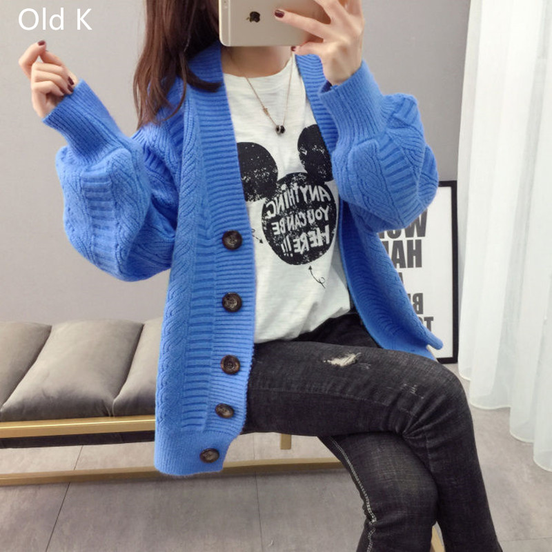 Sweater cardigan jacket female loose Korean student spring and autumn 2021 new sweater trend round button net red hot sale old K 5