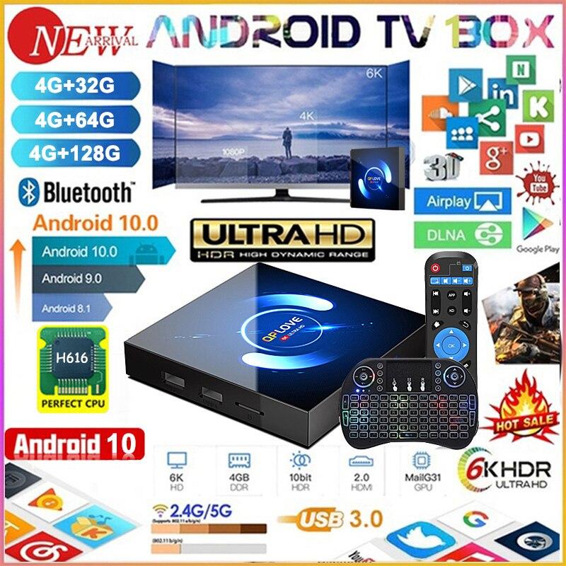 QPLOVE Android 10,0 caja de TV Android 10 MAX 4GB RAM 64GB ROM Allwinner H616 Quad Core 6K Wifi T95 reproductor de medios Youtube Set Top Box