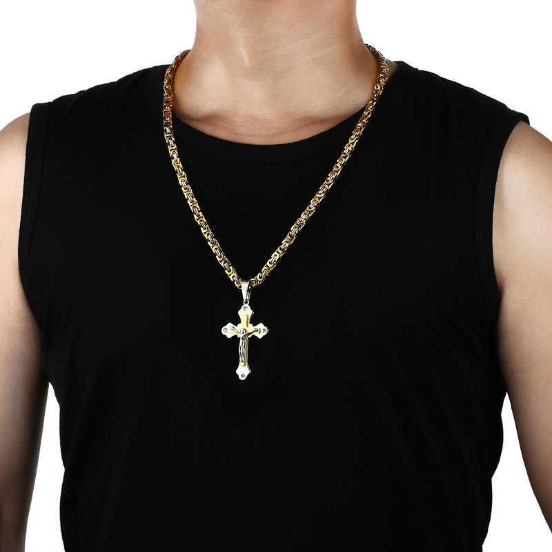 Mężczyźni bizantyjski metalowe Carve wisiorek z ukrzyżowanym jezusem naszyjnik wielowarstwowe ze stali nierdzewnej łańcuszek ogniwowy z kryształami naszyjnik colar collier