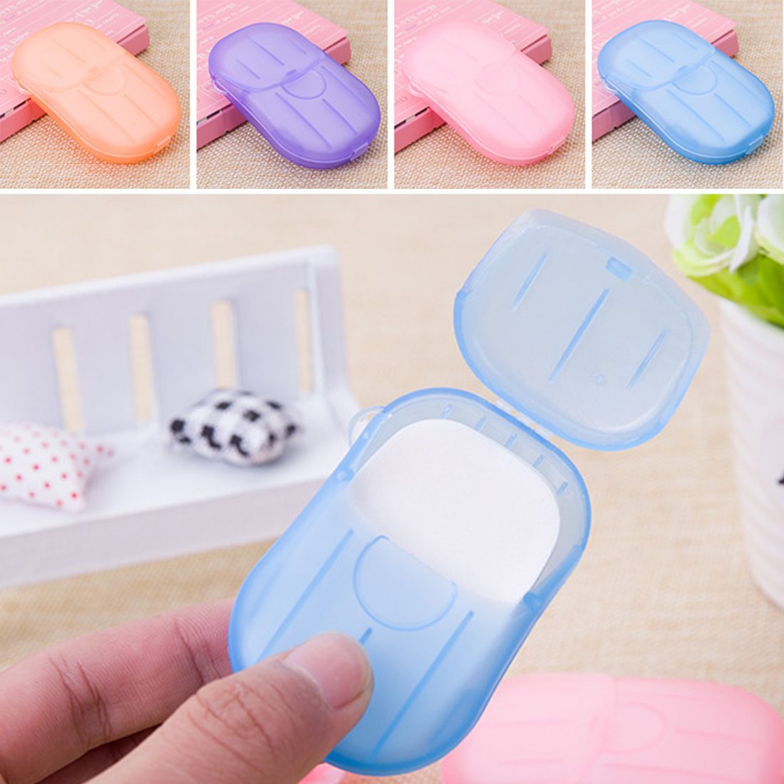Hot Portable Travel Outdoor Hand Washing Cleaning Scented Slice Sheets Mini Paper Soap Random 20pcs Disposable Boxed Soap Paper