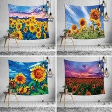 купить European and American style tapestry sunflower background tapestry mural sunflower tapestry wall hanging wall tapestry по цене 849.96 рублей