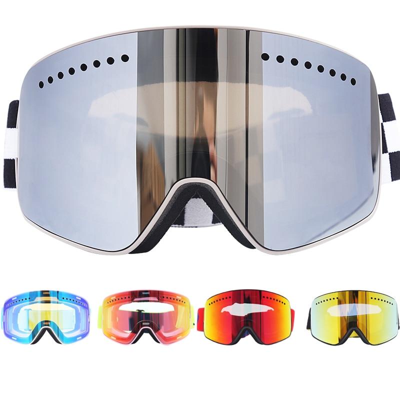 Jiepolly магнитные лыжные очки Брендовые зимние спортивные очки для сноуборда Анти-туман Защита UV400 Лыжная маска для снегохода 037