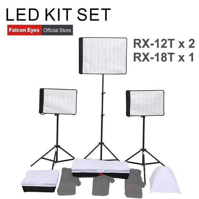 FalconEyes LED Video Film Studio Photographic Light 34W/62W 5600K Dimmable Flexible Portable Continuous RX 12T/RX 18T kit set