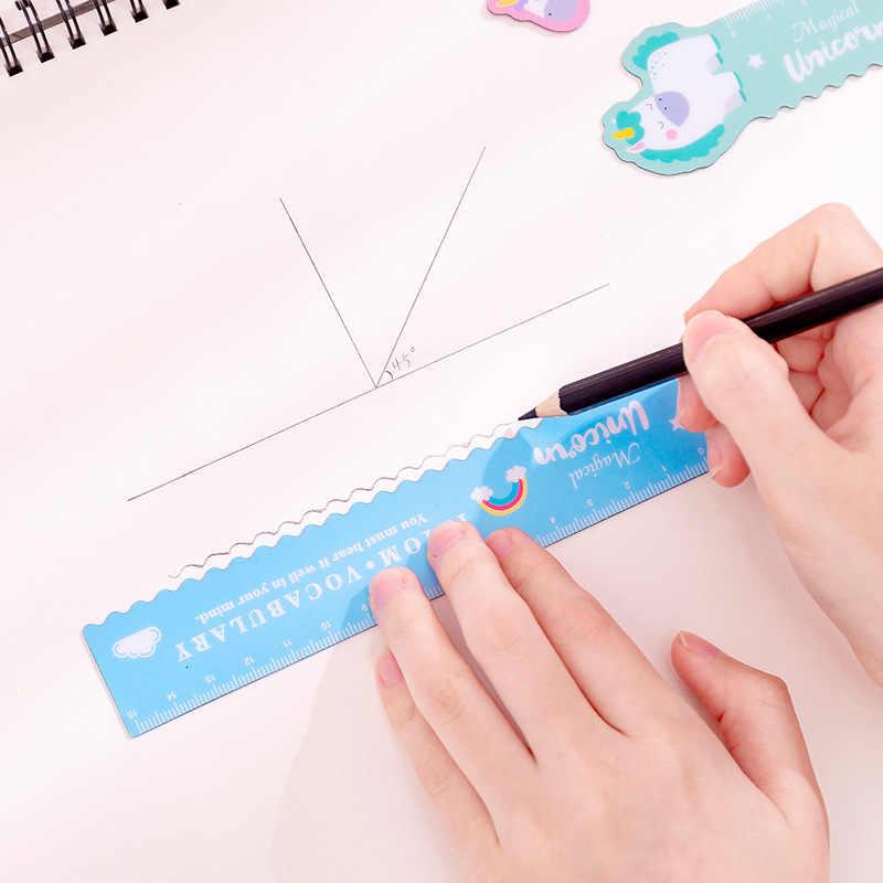 1 pçs unicórnio régua magnética kawaii papelaria novidade bonito régua estudante dos desenhos animados macios régua conjunto de regras de redação da escola supplie
