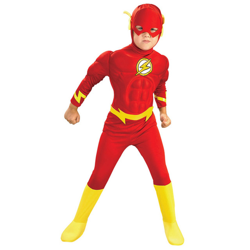 Hot The Flash Muscle Superhero Fancy Dress Boys Kids Fantasy Comics Movie Carnival Party New Year Cosplay Costumes With Mask
