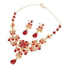 цена на Alloy Rhinestone Earrings Pendant Necklace Bridal Set LX9D