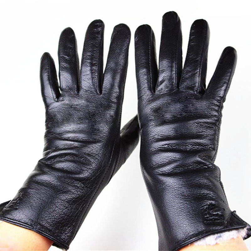 Goatskin Gloves Female Deerskin Pattern Thin Straight Board Style Autumn and Winter Thick Windproof Warmth Cold Gloves