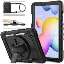 360 rotação alça de mão & kickstand silicone tablet caso para samsung galaxy tab s6 lite 10.4 caso 2020 p610 p615 capa protetora