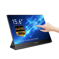 """WAKST 15.6"""" Portable Lcd Monitor, Super Thin Portable Display FHD IPS Touch Screen Gaming Monitor with Type C for Laptop Phone"""