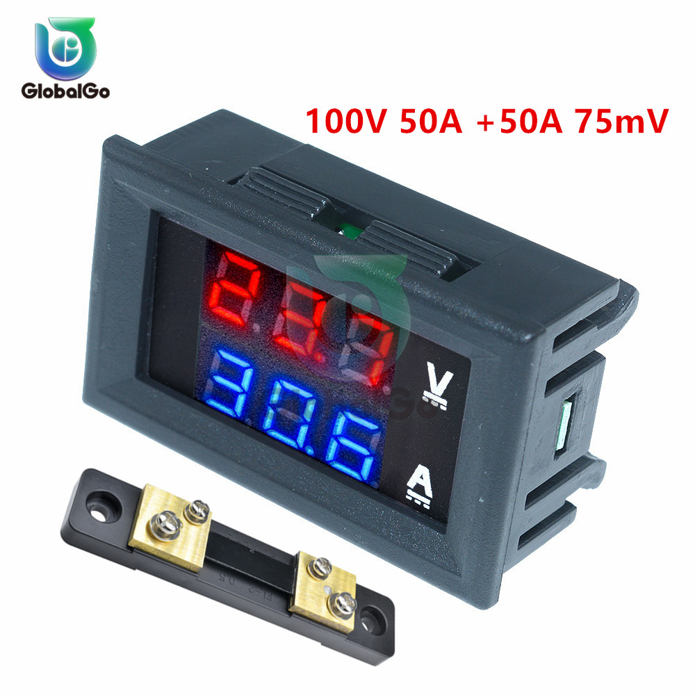 <font><b>DC</b></font> 0-<font><b>100V</b></font> 0-<font><b>50A</b></font> <font><b>Ammeter</b></font> <font><b>Voltmeter</b></font> (red and blue) And <font><b>50A</b></font> 75mV Shunt LED Display Panel Amp Volt Voltage Current Meter Tester image