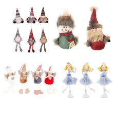 Christmas Doll Pendant Cartoon Snowman Santa Claus Plush Christmas Tree Hanging Ornament Merry Christmas 2020 New Year Kids Toys