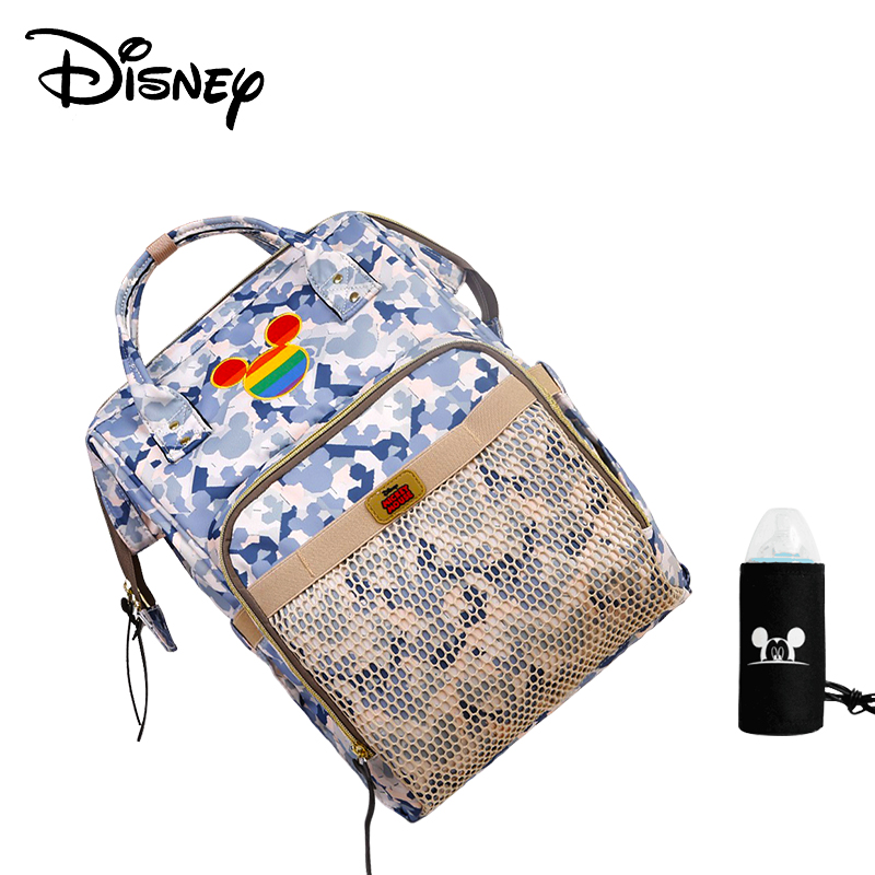 Disney Mickey Minnie Diaper Bags USB Backpack Baby Mommy Travel Large Capacity Bag Multifunction Baby Stroller Bag Nappy Mummy