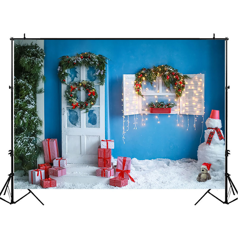 NeoBack Christmas Backdrop Blue Wall Decor Photography Backdrops Gifts Snowman Children Background