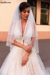 Image 3 - Smileven linia suknia ślubna brokat Boho ślubne suknie V Neck arabski Vestido De Noiva suknie ślubne dla dziewczyna klienta wykonane