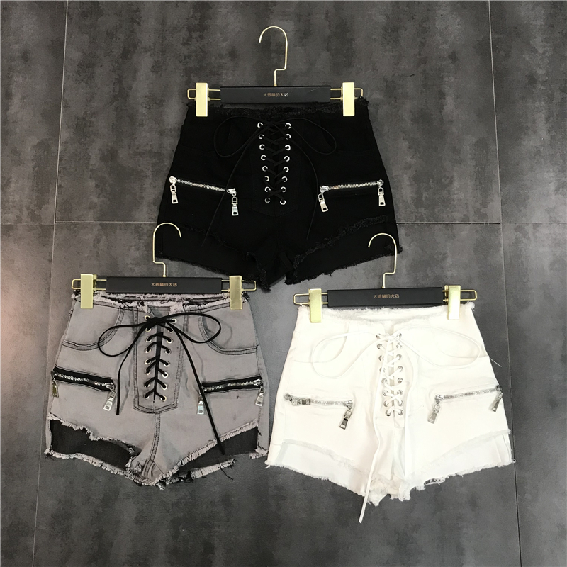 New Fashion Drawstring Zipper Design Burr Small Sexy   Point Denim Shorts For Women