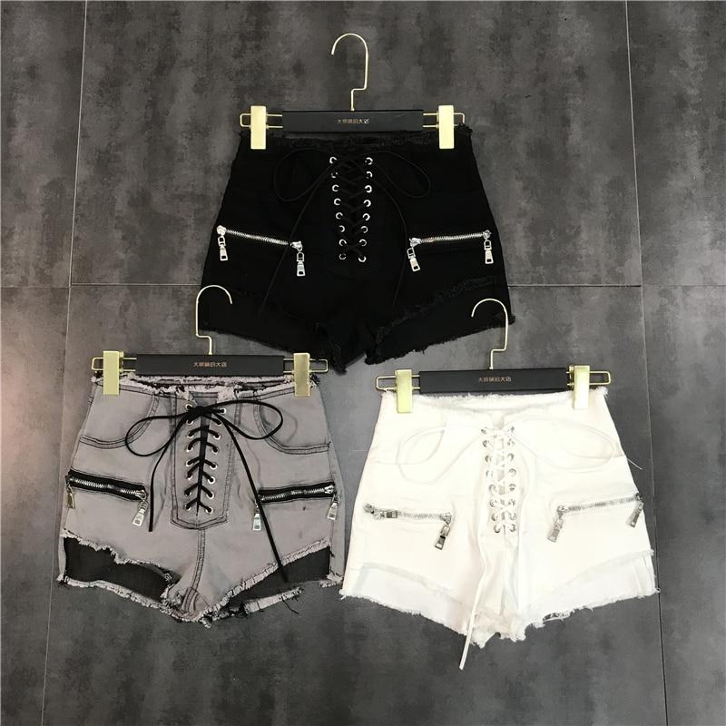 New Fashion Drawstring Zipper Design Burr Small Sexy   Point Denim Shorts For Women