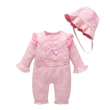 Spring Autumn Casual Fashion Baby Girl Long Sleeve Bodysuit And Hat Kids Two-piece Outfit Set #p