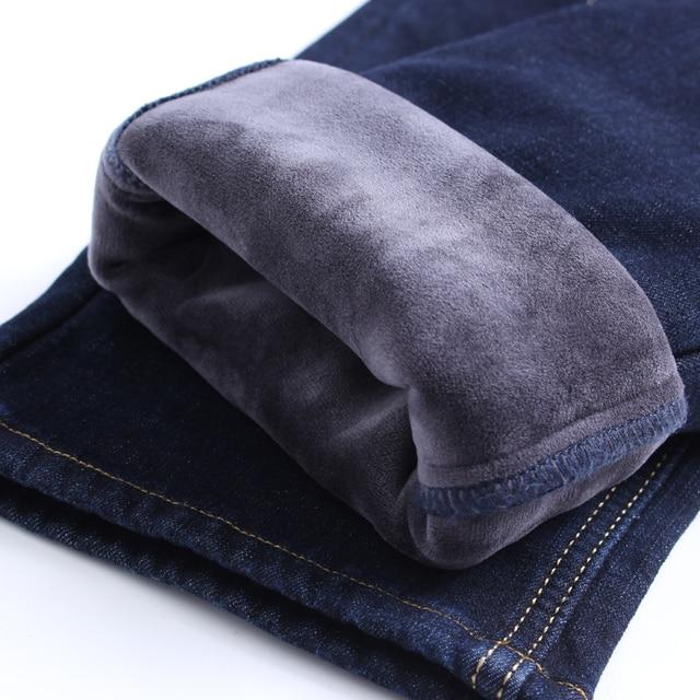 2020 Winter New Men's Warm Slim Fit Jeans Business Fashion Thicken Denim Trousers Fleece Stretch Brand Pants Black Blue 5