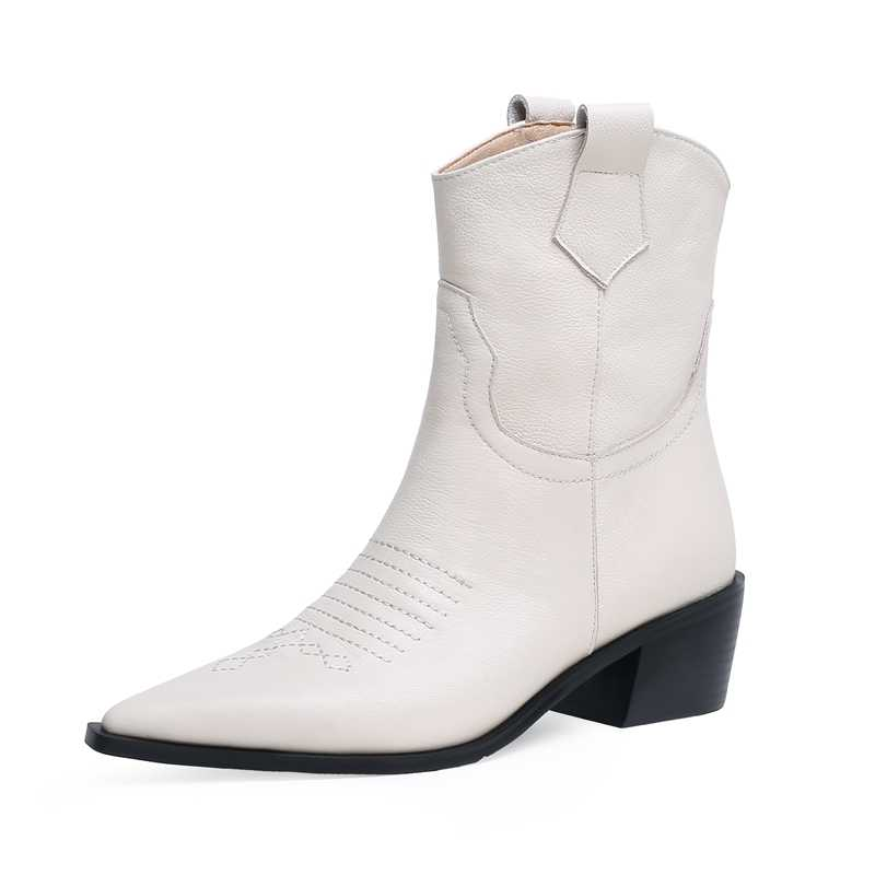 Batı yarım çizmeler Kovboy Kadın Patik Moda Sivri Burun Ayakkabı Kadın Kalın Topuklu Küba deri ayakkabı Bayanlar 2019 Yeni Sonbahar