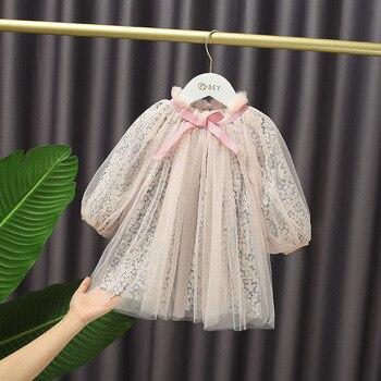 2020 осеннее милое Сетчатое платье с цветочным рисунком для маленьких девочек пышное платье принцессы с бантом для детей