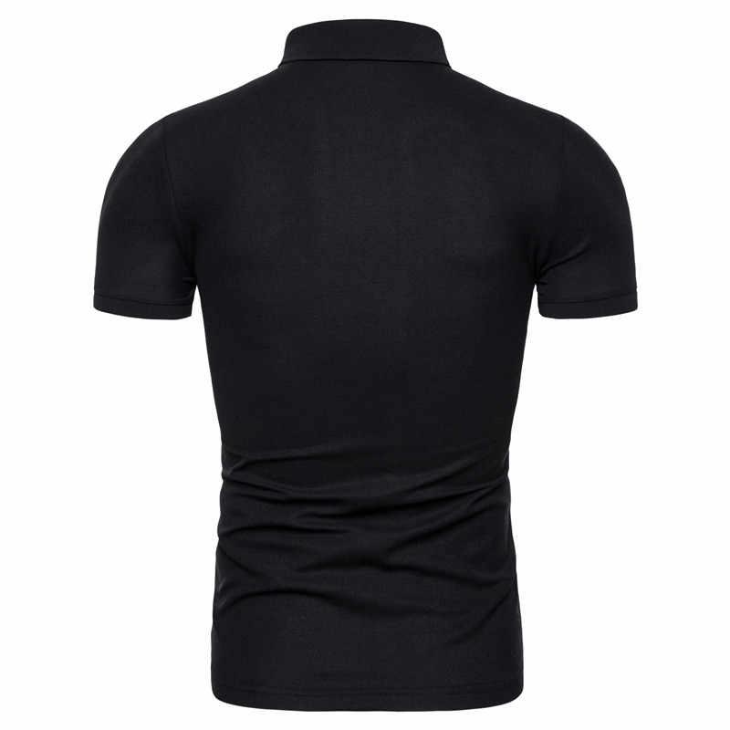 Dropshipping 2019 새로운 여름 코 튼 남자 폴로 솔리드 슬림 맞는 지퍼 패치 워크 폴로 셔츠 남자 패션 비즈니스 캐주얼 폴로 남자