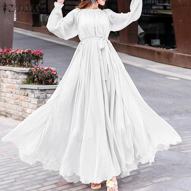 2020 Fashion ZANZEA Elegant Women Long Dress Lady Puff Sleeve Maxi Vestidos Belted Beach Party Sundress Female Solid Dresses 5XL