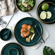 Nordic Керамика Зеленый золотым ободком пластина/миска салатник