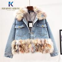 Natural Fox fur collar Denim Jacket Winter Coat Women Thick Warm Cotton liner Short Jeans Jacket Women High quality Overcoat
