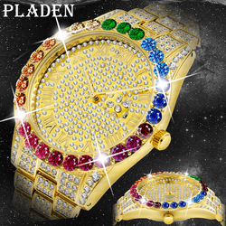 Hip Hop Hot Sale Quartz Men Watches Ice Out AAA Rainbow Diamond Top Brand Luxury 18K Gold Bling Date Relogio Masculino 2021 New