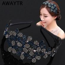 AWAYTR-diademas de flores de diamante de imitación para el cabello, bandanas de cristal para el cabello para mujer, bandana elegante hecha a mano, accesorios para el cabello