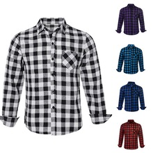 Men Plaid Shirt Spring Autumn Long Sleeve Cotton Shirts Turn-Down Collar Slim Fit Casual Breathable Tops Plus Size girls plaid blouse 2019 spring autumn turn down collar teenager shirts cotton shirts casual clothes child kids long sleeve 4 13t