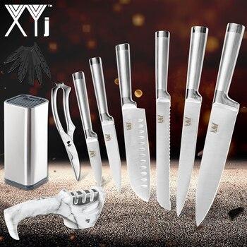 Cuchillo de cocinero XYj, juego de 9 Uds., cuchillo de cocina de acero inoxidable de calidad, cuchillo de carnicero con cuchilla afilada, cuchillo de carnicero con afilador de cuchillos