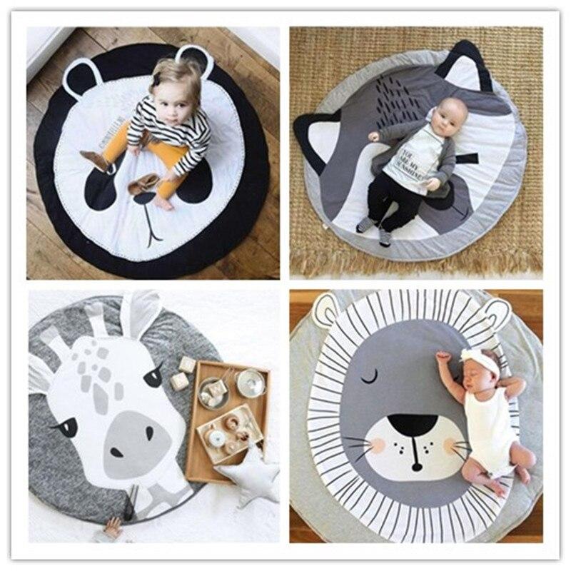 90CM Round Baby Play Mat Cartoon Animals Kids Crawling Carpet Floor Rug Bedding Blanket Toys For Children Room Decor Photo Props